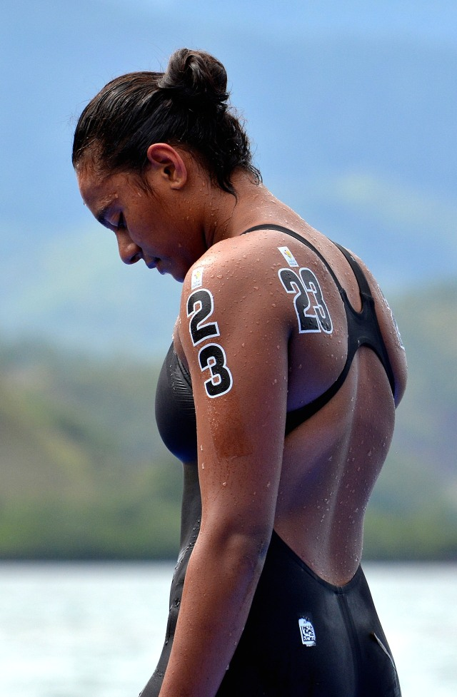 Silver surfer: Matelita Buadromo (FIJ) won silver in the women's open water swimming on Sunday. Photo by David Wesley.