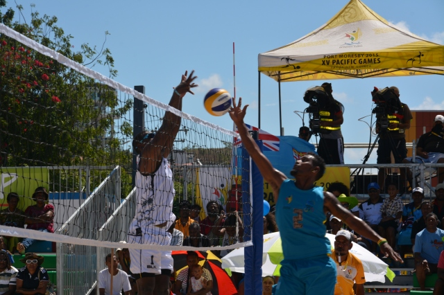 Fiji beat Tuvalu in one of Monday's men's beach volleyball matches. Photo by Robert Palme
