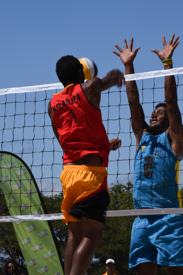 Richard Kilarupa is adjusting well to beach volleyball. Photo: Fiona Munday