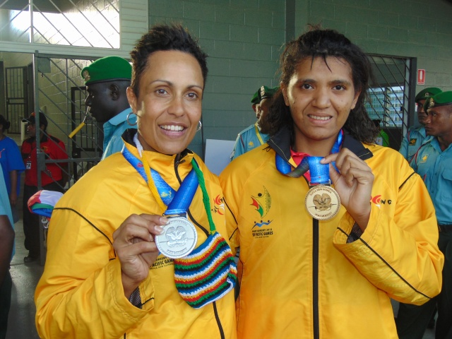Eli Webb and Lynette Vai won silver and gold for PNG in the women's singles. Photo by Stephen Kwaragu