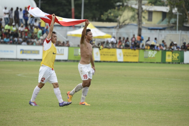 Tahiti players celebrate their semifinal victory over PNG at the Bisini Grounds on Wednesday. Photo by Roan Paul.