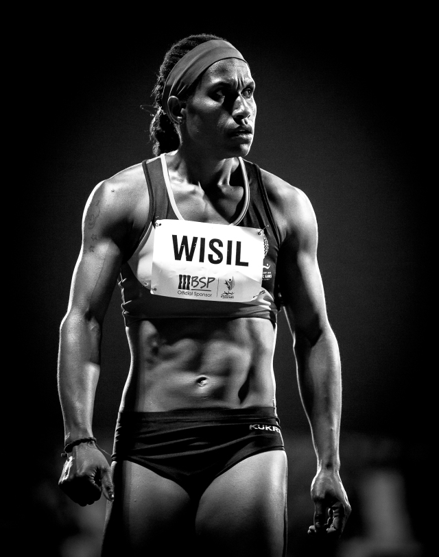 Wisil in the dark: Toea Wisil lines up for the women's 400m on Wednesday. Photo Dave Buller.