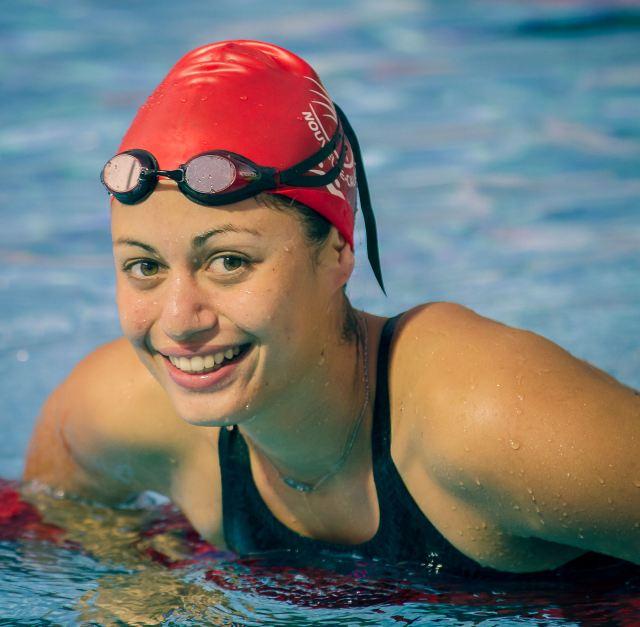 Terebo (NCL) wins gold in women's 100m backstroke at BSP Arena on Wednesday. Photo - Dave Buller