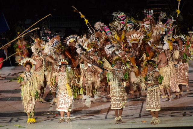 The sing-sing performers were a high point of the ceremony. Photo by Daniel Potuku