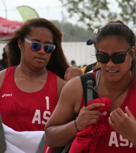 American Samoa's Rachelle Suaava and Litara Sisitina won gold on Saturday. Photo by GNS.
