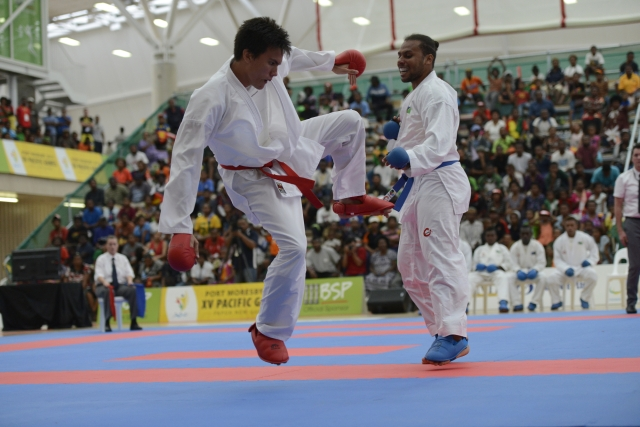 Fiji kicked into high gear on Tuesday to finish equal with New Caledonia on the karate medal count. Photo by Olga Fontanellaz.