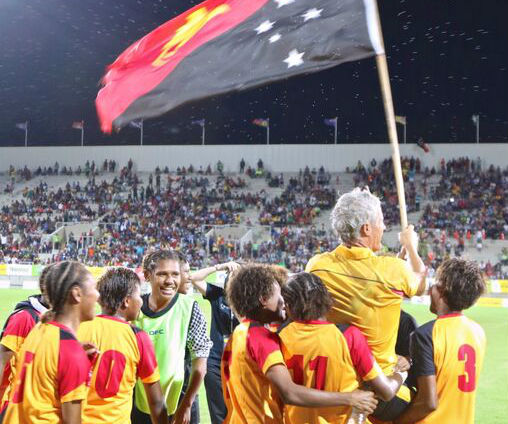 Coach Gary Philips masterminded a fourth soccer gold for PNG. Photo: Susie Pini