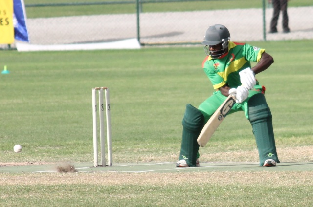 Nalin Nipiko during his innings of 49 for Vanuatu against PNG in the men's T20 cricket gold medal match. Photo by Daniel Kerwin.
