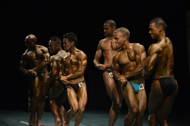 Flex squad: The bodybuilding boys putting it all on show. Photo by Olga Fontanellaz.