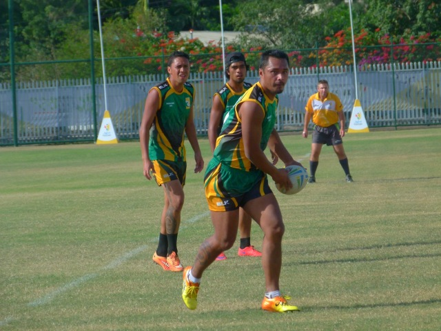 Cook Islands look to play an expansive game in touch footy action at Bisini Grounds. Photo: Rex Kia