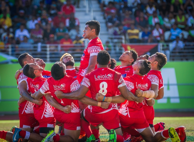 Lord of the ring: Tonga won the rugby league 9s bronze medal on Sunday. Photo by Dave Buller.