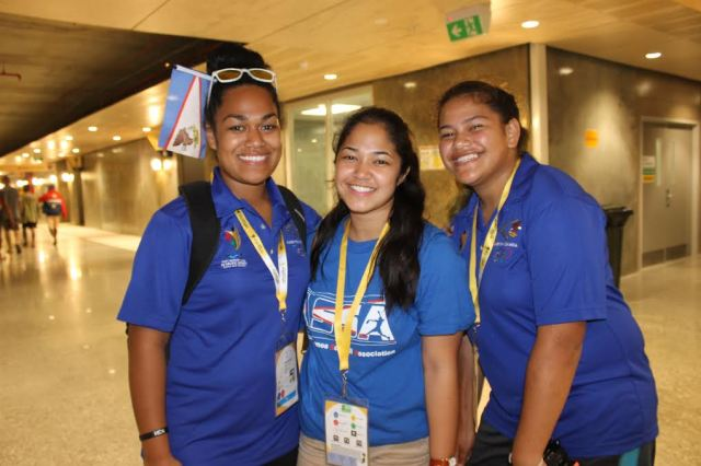 Members of American Samoa's softball team; (L-R) Sweetheart Nua, Kelly Osterbrink and Angela Ah-Fook start competing at Port Moresby 2015 next week. Photo Aiva Tamate-Ore