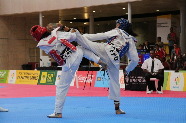 Taek that: Women's taekwondo action from from BSP Arena on Thursday. Photo by Vere Freeman.