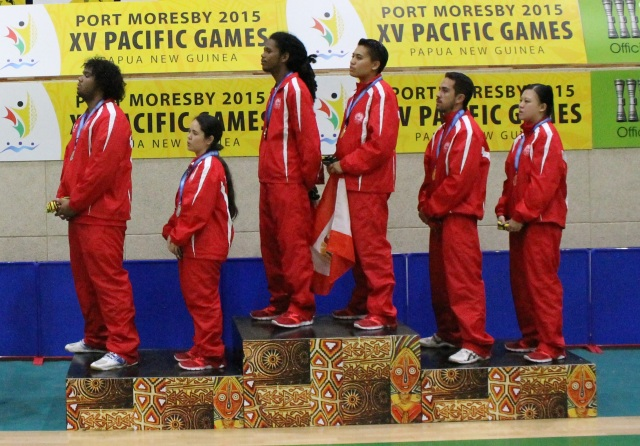 Tahiti swept the team table tennis event podium on Wednesday. Photo by Daniel Kerwin.
