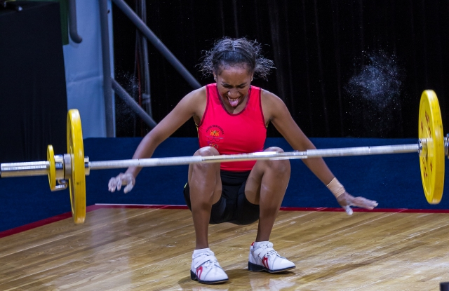 Chalk it up to experience: A PNG weightlifter drops the bar at the PNG Power Dome. Photo Dave Buller.